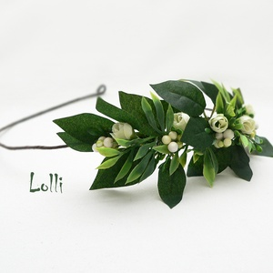 Greenery féloldalas fejkoszorú, virágkoszorú, virágkorona fotózáshoz,  esküvőre (Lolli) - Meska.hu