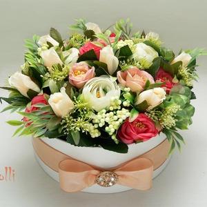 Barack-korall selyemvirágbox - virágdoboz, virágbox, rózsabox (Lolli) - Meska.hu