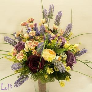 bouquet LavenderBee - menyasszonyi örökcsokor, vázadísz (Lolli) - Meska.hu