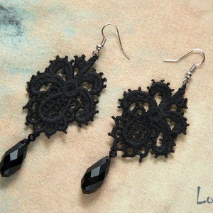 Fekete csipke fülbevaló (Lolli) - Meska.hu