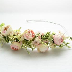 Rózsaszín bogis félfejkoszorú, virágkoszorú, virágkorona fotózáshoz,  esküvőre (Lolli) - Meska.hu