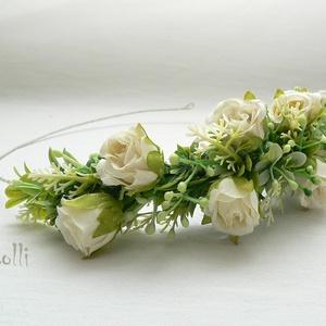 Ekrü nagy rózsás fél fejkoszorú, virágkoszorú, virágkorona fotózáshoz,  esküvőre (Lolli) - Meska.hu