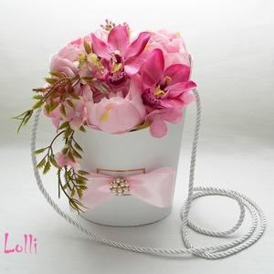 Orchideás - peóniás rózsaszín ballagási tarisznya (Lolli) - Meska.hu