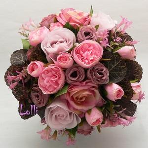 MauveGarden mályva-rózsaszín menyasszonyi örökcsokor, Esküvő, Otthon & lakás, Dekoráció, Csokor, Esküvői csokor, Mályva és ragyogó rózsaszín selyemrózsákból, valamint sötét bordós barna levelekkel készítettem el, ..., Meska