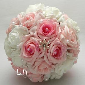 Rózsaszín- fehér gyöngyös menyasszonyi csokor (Lolli) - Meska.hu