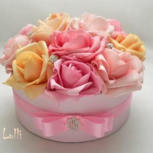 Rózsaszín rózsadoboz - virág box virágdoboz (Lolli) - Meska.hu
