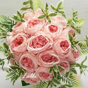 Barack rózsás selyemvirág menyasszonyi örökcsokor kitűzővel (Lolli) - Meska.hu