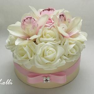 Orchideás virágdoboz, virágbox, rózsabox (Lolli) - Meska.hu