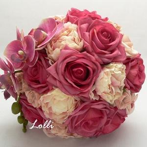 Antikpink lepke orchideás menyasszonyi örökcsokor, Esküvő, Esküvői csokor, Virágkötés, Menyasszonyi örökcsokor, minőségi selyemrózsákból és orchideából kötve\nA csokor magassága 25cm, átmé..., Meska