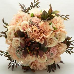 Dáliás őszi menyasszonyi örökcsokor, Esküvő, Esküvői csokor, Otthon & lakás, Dekoráció, Csokor, Virágkötés, Őszi menyasszonyi csokor, örökcsokor\nbarackos dáliákkal, hasonló árnyalatú selyemrózsákkal, valamint..., Meska
