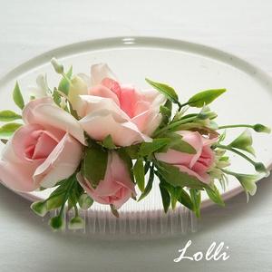 Rózsaszín rózsás menyasszonyi fejdísz kontydísz (Lolli) - Meska.hu