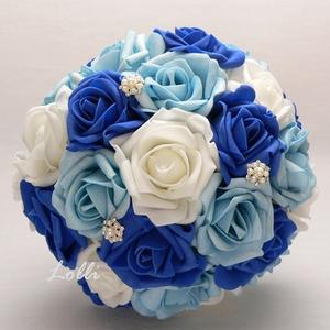 Kék - Fehér menyasszonyi csokor (Lolli) - Meska.hu