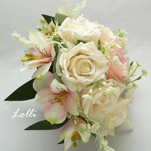 Rózsaszín - ekrü menyasszonyi örökcsokor (Lolli) - Meska.hu