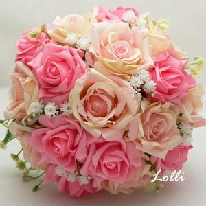 Pink - rózsasszín menyasszonyi örökcsokor, Esküvő, Esküvői csokor, Virágkötés, Menyasszonyi örökcsokor, minőségi selyemrózsákból kötve.\nA csokor magassága 25cm, átmérője 20cm.\n\nAm..., Meska