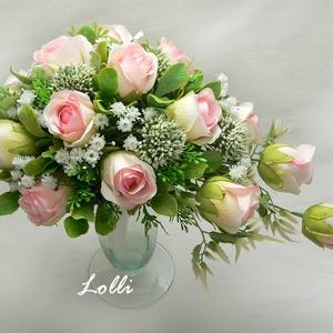 Rózsaszín rózsás csepp menyasszonyi örökcsokor (Lolli) - Meska.hu