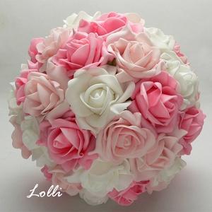 Pink-rózsaszín gyöngyös habrózsa menyasszonyi csokor (Lolli) - Meska.hu