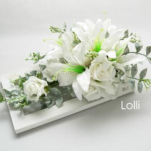 Hófehér liliomos esküvői asztaldísz, Esküvő, Otthon & lakás, Esküvői dekoráció, Lakberendezés, Asztaldísz, Hófehér lilomos romantikus asztaldísz esküvőre, vagy ajándékba.  Az asztaldísz mérete: 27x14cm magas..., Meska