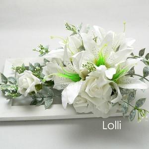 Hófehér liliomos esküvői asztaldísz (Lolli) - Meska.hu