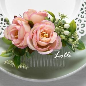 Barack rózsás menyasszonyi fejdísz kontydísz, Esküvő, Táska, Divat & Szépség, Hajdísz, ruhadísz, Ruha, divat, Egyedi selyemvirág fejdísz, barackszín rózsákkal A virágdísz befoglaló mérete a fésű nélkül: 12x6cm ..., Meska