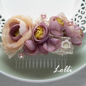 Mályva virágos csipkés menyasszonyi fejdísz, Esküvő, Táska, Divat & Szépség, Hajdísz, ruhadísz, Ruha, divat, Mályva virágokkal és barack csipkével díszített fejdísz. Befoglaló mérete a fésűvel együtt: 11x5cm  ..., Meska