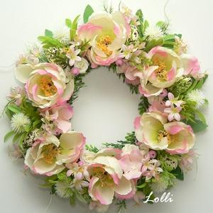 Virágos tavaszi koszorú tojásokkal, Otthon & lakás, Karácsony, Lakberendezés, Karácsonyi dekoráció, Dekoráció, Ünnepi dekoráció, Húsvéti díszek, Ajtódísz, kopogtató, Egy lapos keretet nagy virágokkal, füvekkel és a füvek közt megbúvó tojásokkal díszítettem. :) 24cm ..., Meska