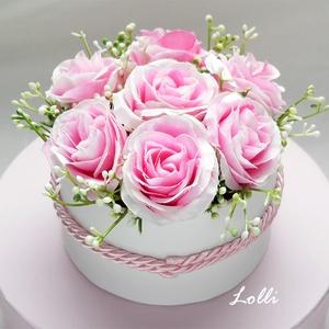 Mini pink rózsás virágdoboz, virágbox, rózsabox, Esküvő, Otthon & lakás, Esküvői csokor, Lakberendezés, Meghívó, ültetőkártya, köszönőajándék, Asztaldísz, Virágkötés, Lepd meg szeretteidet ezzel a mini romantikus virágdobozzal, melybe csodaszép prémium minőségű pink..., Meska
