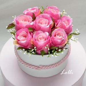 Pink mini rózsás virágdoboz, virágbox, rózsabox, Esküvő, Otthon & lakás, Esküvői csokor, Lakberendezés, Meghívó, ültetőkártya, köszönőajándék, Asztaldísz, Virágkötés, Lepd meg szeretteidet ezzel a mini romantikus virágdobozzal, melybe csodaszép prémium minőségű pink..., Meska