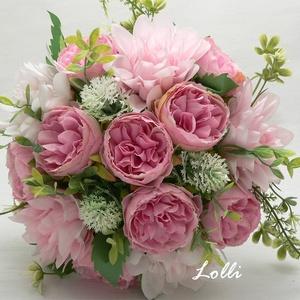 Pink-rózsaszín menyasszonyi örökcsokor, Esküvő, Otthon & lakás, Dekoráció, Csokor, Esküvői csokor, Rózsaszín dáliákból és pink rózsákból kötve 14szál virág van benne. Mérete: 19cm átérőjű 24cm magas...., Meska