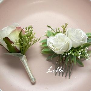 Ekrü kitűző - hajdísz szett, Esküvő, Otthon & lakás, Esküvői csokor, Dekoráció, Ekrü selyemvirág kitűző és 1db kis ekrü fejdísz két rózsával  , Meska