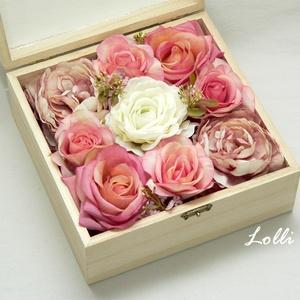 """Édesanya köszöntő ládika, virágdoboz, Otthon & lakás, Dekoráció, Ünnepi dekoráció, Anyák napja, Lakberendezés, Asztaldísz, Nagyon elegáns, nagy méretű virágbox """"Édesanyámnak szeretettel"""" feliratú szívvel a tetején. Mályvás ..., Meska"""