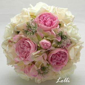 Ekrü-pink menyasszonyi örökcsokor, Esküvő, Otthon & lakás, Dekoráció, Csokor, Esküvői csokor, Ekrü hab valamint ekrü, és pink selyemrózsákból kötve. Mérete: 19cm átérőjű 24cm magas.  Amennyiben ..., Meska