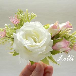 Ekrü puha rózsás menyasszonyi fejdísz kontydísz, Esküvő, Táska, Divat & Szépség, Hajdísz, ruhadísz, Ruha, divat, Ekrü finom puha rózsával és rózsaszín rózsabimbókkal díszített fejdísz. A virágdísz mérete a fésű né..., Meska