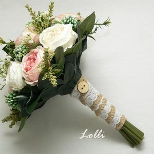 Vintage menyasszonyi örökcsokor, Esküvő, Otthon & lakás, Esküvői csokor, Dekoráció, Csokor, Vintage menyasszonyi csokor, örökcsokor  Ekrü és púder rózsaszín rózsákkal, zsákvászon szárral. Mére..., Meska