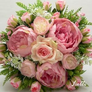 Pink-Rózsaszín menyasszonyi örökcsokor, Esküvő, Otthon & lakás, Esküvői csokor, Dekoráció, Dús pink-rózsaszín örökcsokor Mérete: 24cm átmérőjű 24cm magas   , Meska