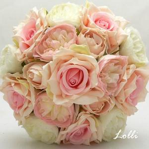 RózsaRózsa - Rózsaszín rózsás menyasszonyi örökcsokor, Esküvő, Esküvői csokor, Menyasszonyi örökcsokor, minőségi  halvány pasztell virágokból kötve. A csokor magassága a szárával ..., Meska