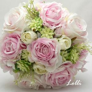 Ciklámen rózsaszín rózsás menyasszonyi örökcsokor, Esküvő, Esküvői csokor, Menyasszonyi örökcsokor, minőségi  ciklámen szín virágokból kötve. A csokor magassága a szárával egy..., Meska