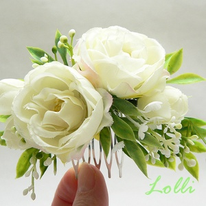Ekrü mini rózsás menyasszonyi fejdísz, Esküvő, Táska, Divat & Szépség, Hajdísz, ruhadísz, Ruha, divat, Ekrü mini prémium selyemrózsákkal díszített fejdísz. Befoglaló mérete a fésű nélkül: 11x6cm /A képen..., Meska
