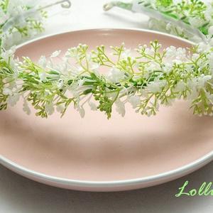 Fehér apró virágos dús fejkoszorú esküvőre fotózáshoz (Lolli) - Meska.hu