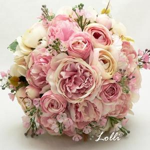 Rózsaszín rózsás menyasszonyi örökcsokor, Esküvő, Esküvői csokor, Menyasszonyi örökcsokor, minőségi  rózsaszín és ekrü bazsarózsákból és boglárkákból kötve. A csokor ..., Meska