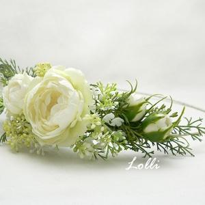 Ekrü-fehér rózsás félfejkoszorú esküvőre fotózáshoz, Esküvő, Táska, Divat & Szépség, Hajdísz, ruhadísz, Ruha, divat, Prémium selyemrózsákkal, apró fehér és zöld virágokkal díszített félfejkoszorú A képen látható darab..., Meska
