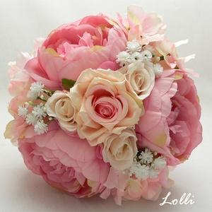 Sötétrózsaszín menyasszonyi örökcsokor, Esküvő, Otthon & lakás, Esküvői csokor, Dekoráció, Kis méretű menyasszonyi csokor polgári esküvőre.  Mérete: 18cm átmérőjű 24cm magas  , Meska