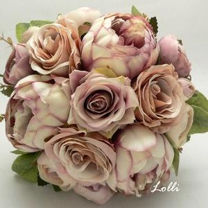 Pasztell rózsás menyasszonyi örökcsokor, Esküvő, Esküvői csokor, Menyasszonyi örökcsokor, minőségi  különleges lilás barna színű bazsarózsákból és boglárkából és bar..., Meska