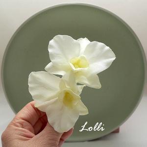 Dupla orchideás fejdísz, Esküvő, Hajdísz, ruhadísz, Két csodaszép selyemorchideával készült krokodilcsipeszes fejdísz: Mérete 9,5x6,5cm, Meska