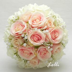 Romantikus Ekrü - Rózsaszín rózsás menyasszonyi örökcsokor, Esküvő, Esküvői csokor, Menyasszonyi örökcsokor, minőségi  rózsaszín és ekrü bazsarózsákból és boglárkákból kötve. A csokor ..., Meska