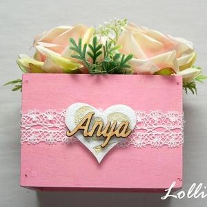 Rózsaszín rózsás szülőköszöntő ládikók párban (Lolli) - Meska.hu