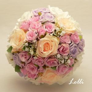 Pink-barack-lila rózsás menyasszonyi örökcsokor, Esküvő, Menyasszonyi- és dobócsokor, Menyasszonyi- és dobócsokor, Menyasszonyi örökcsokor,  Ciklámen és barack selyemrózsákkal, valamint lila, és fehér habrózsákkal k..., Meska