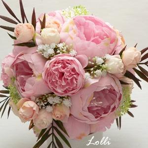Rózsaszín bazsarózsás menyaszonyi csokor, Esküvő, Esküvői csokor, Virágkötés, Menyasszonyi örökcsokor, minőségi \nrózsaszín bazsarózsákból és barack bimbós rózsákból kötve, bordós..., Meska