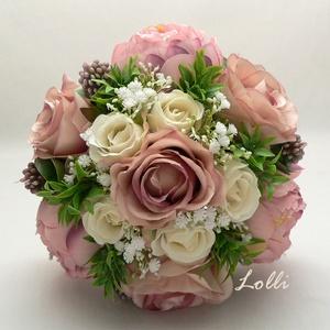 Púder rózsaszín menyasszonyi örökcsokor, Esküvő, Esküvői csokor, Menyasszonyi örökcsokor, minőségi  púder rózsaszín és ekrü bazsarózsákból és selyemrózsákból kötve. ..., Meska