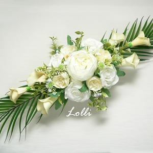 Ekrü kálás esküvői főasztaldísz, Esküvő, Esküvői csokor, Esküvői dekoráció, 60cm hosszú impozáns esküvői főasztaldísz minőségi prémium kálákkal, és selyemrózsákkal díszítve Szé..., Meska