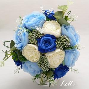 Kék rózsás menyasszonyi örökcsokor, Esküvő, Esküvői csokor, Menyasszonyi örökcsokor, minőségi egyedi különleges világos és királykék rózsákból kötve. A csokor m..., Meska
